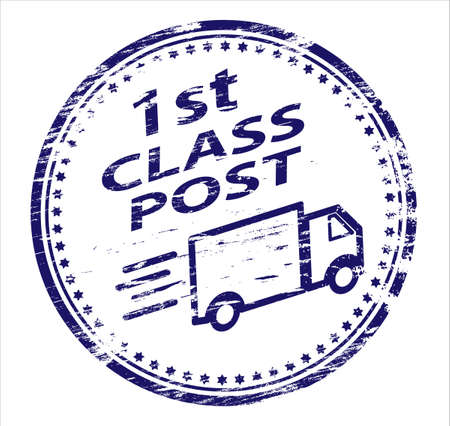 1st CLASS POST Rubber Stamp Stock Vector - 8985225