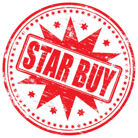 famous star: STAR BUY Rubber Stamp Illustration