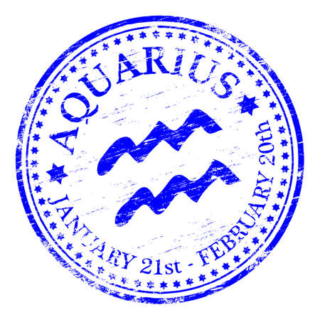 AQUARIUS Zodiac Rubber Stamp Vector