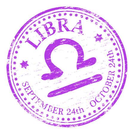 libra: LIBRA Zodiac Rubber Stamp