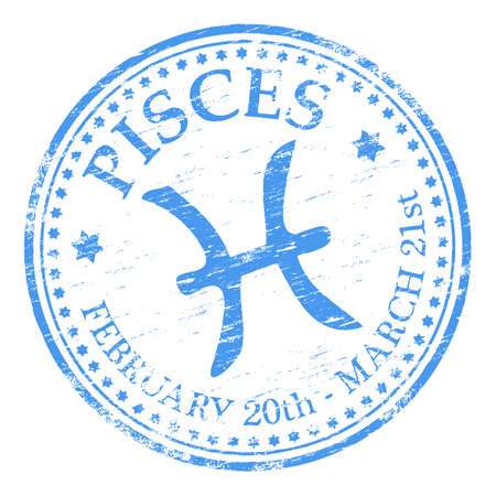 pisces sign: PISCES Zodiac Rubber Stamp