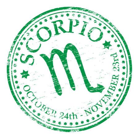 SCORPIO Zodiac Rubber Stamp Vector Illustration