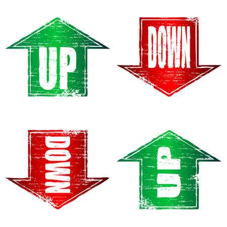 Up and Down Arrows grunge stamps Vector