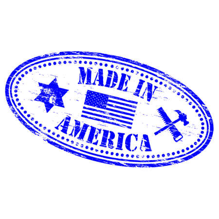 MADE IN AMERICA Rubber Stamp Stock Vector - 8986321