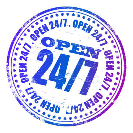 OPEN 24.7 Rubber Stamp Stock Vector - 8986316