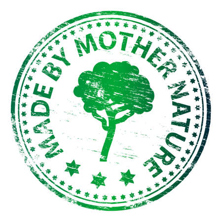 MADE BY MOTHER NATURE Rubber Stamp Stock Vector - 8986329