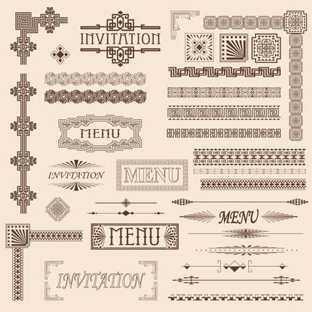 Decorative menu and invitation border elements Vector