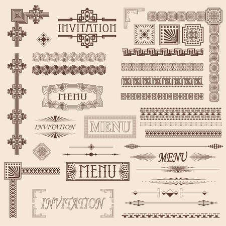 arte: Elementos decorativos de frontera de menú y la invitación Vectores
