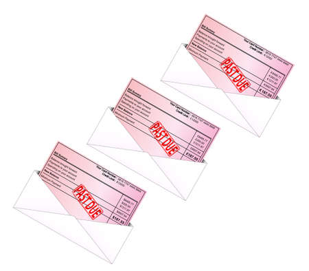 Credit card bill vectors with PAST DUE Rubber Stamp Vector