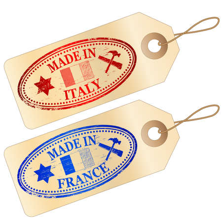 MADE IN FRANCE and ITALY Tags Vector