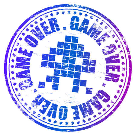 space invaders game: GAME OVER Grunge Rubber Stamp