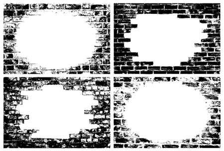 Grungy brick wall border vectors