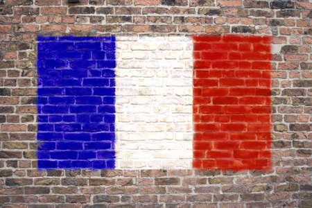 sprayed: French flag sprayed on brick wall
