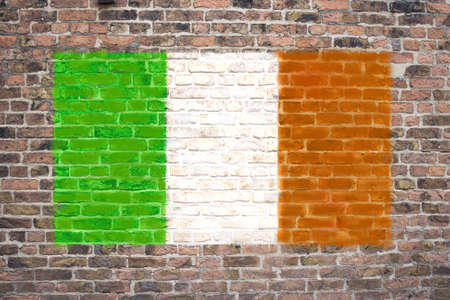 Irish flag sprayed on brick wall Stock Photo - 9126429