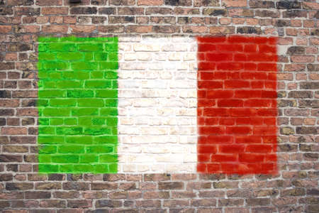 sprayed: Italian flag sprayed on brick wall
