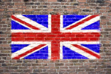 Flag of The United Kingdom sprayed on brick wall Stock Photo - 9126430