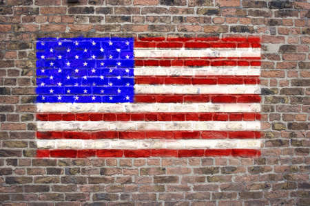 sprayed: USA flag sprayed on brick wall