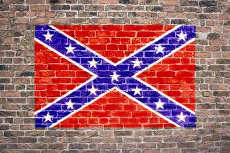 Confederate flag sprayed on brick wall Stock Photo - 9198893