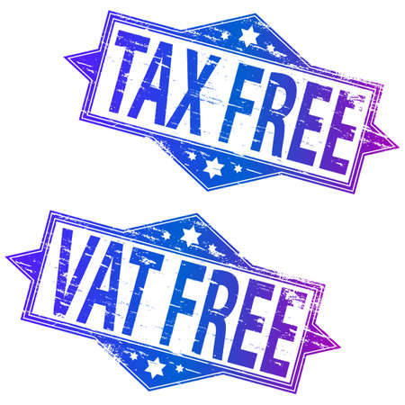 cost reduction: TAX FREE and VAT FREE grunge rubber stamps