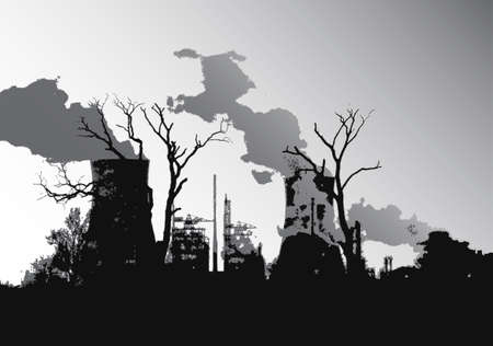radiation pollution: Power station silhouette illustration