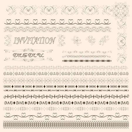 Decorative menu and invitation border elements Stock Vector - 9449264