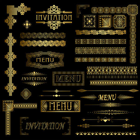 Decorative gold menu and invitation border elements Stock Vector - 9449263