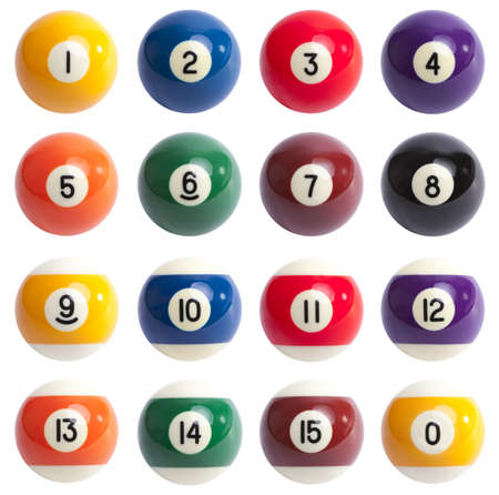 snooker balls: Isolated Pool Balls. 1 to 15 and zero ball Stock Photo