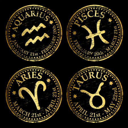 Aquarius, Pisces, Aries and Taurus. Gold rubber stamp vectors Vector