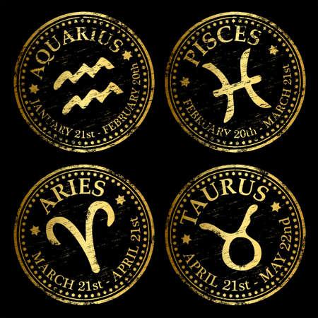 abstract aquarius: Aquarius, Pisces, Aries and Taurus. Gold rubber stamp vectors Illustration