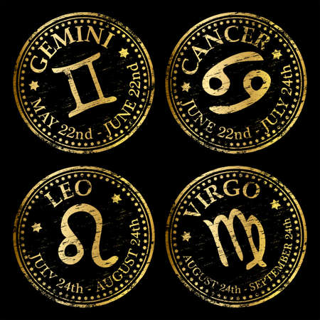 Gemini, Cancer, Leo and Virgo. Gold rubber stamp vectors Vector