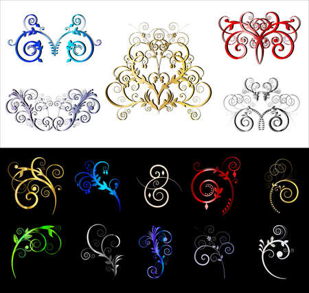 Decorative colored ornate border and frame elements  Stock Vector - 9935613