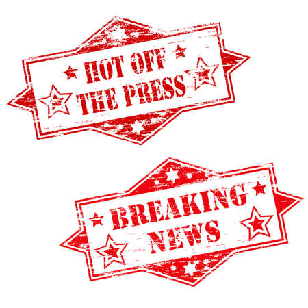 newspaper articles: HOT OFF THE PRESS and BREAKING NEWS Stamps
