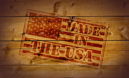 Made in the USA stamp on wooden background Stock Photo