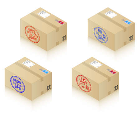 Boxes with shipping stamps Vector