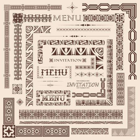 classic art: Decorative menu and invitation border elements
