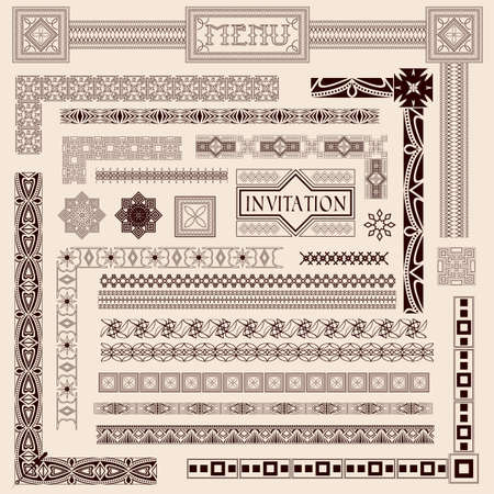 Decorative menu and invitation border elements Stock Vector - 10822463