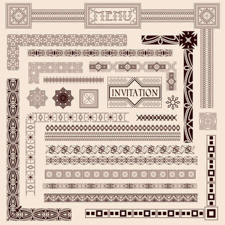 Decorative menu and invitation border elements Vector