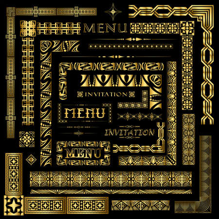 fancy border: Men� de oro y elementos decorativos invitaci�n frontera Vectores
