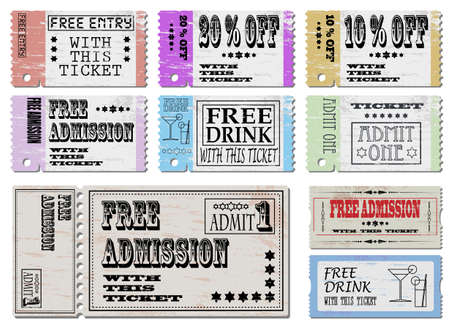 admit: Free admission and sale ticket Illustrations