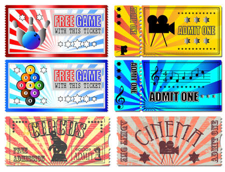 Sport, Cinema, Concert and Circus tickets Vector