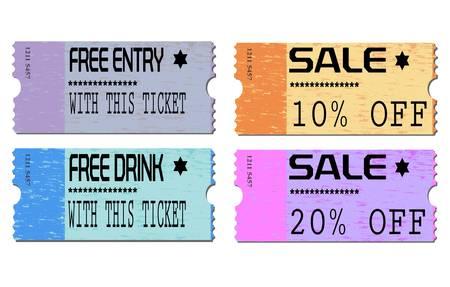 admission: Free admission and sale ticket Illustrations