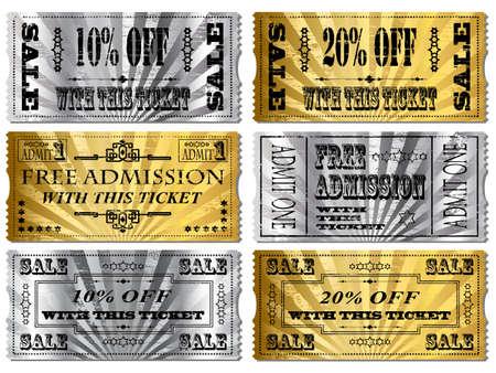 Gold und Silber Tickets. Sparen Sie Geld und Gratis Eintritt Vektorgrafik