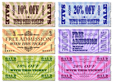 coupon: Free admission and sale ticket Illustrations