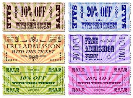 buono sconto: Ingresso gratuito e illustrazioni di vendita dei biglietti