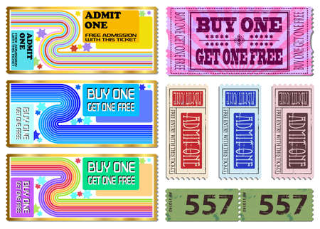 admittance: Colorful free admission and sale ticket Illustrations Illustration