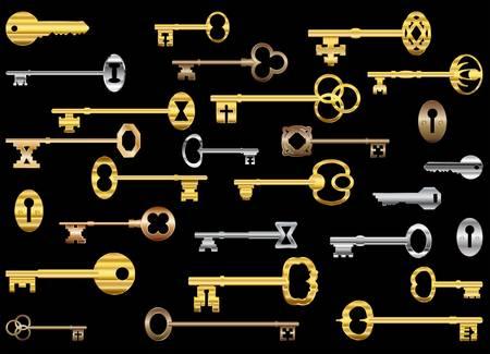 golden key: Gold and silver keys Illustration