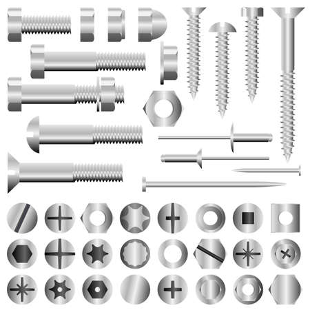 screw heads: Set of nuts, bolts, screws and rivets
