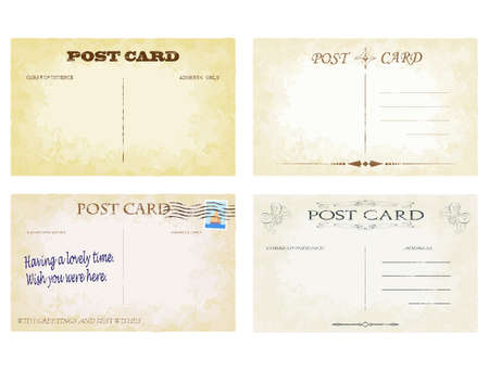 yellowing: Aged postcard vectors