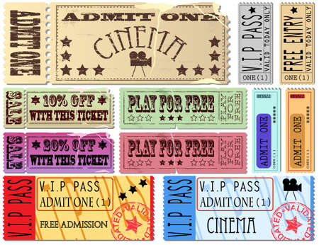 Colorful free admission and sale ticket Illustrations Vector
