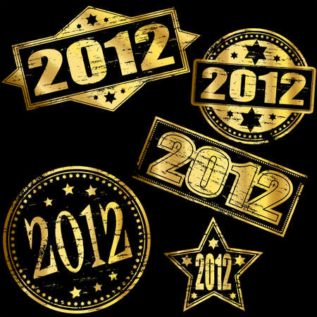 2012 Gold new year rubber stamp  Stock Vector - 11274400